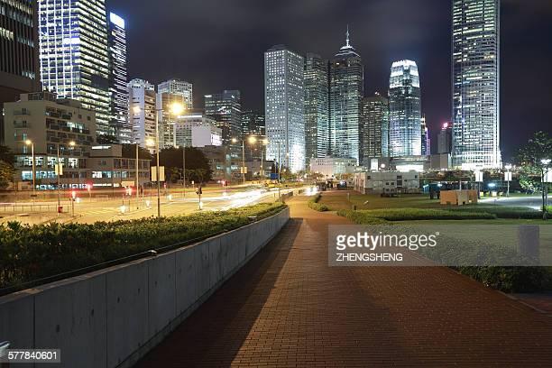 Hong Kong landmark office buildings night