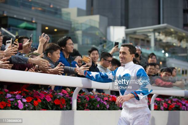 Hong Kong legend jockey Douglas Whyte farewell with racing fans at Sha Tin racecourse on February 10, 2019 in Hong Kong.