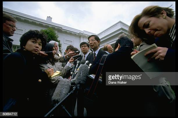 Hong Kong legislator Martin Lee speaking to press outside White House after mtg w Pres Clinton VP Gore as return of Hong Kong to mainland Chinese...