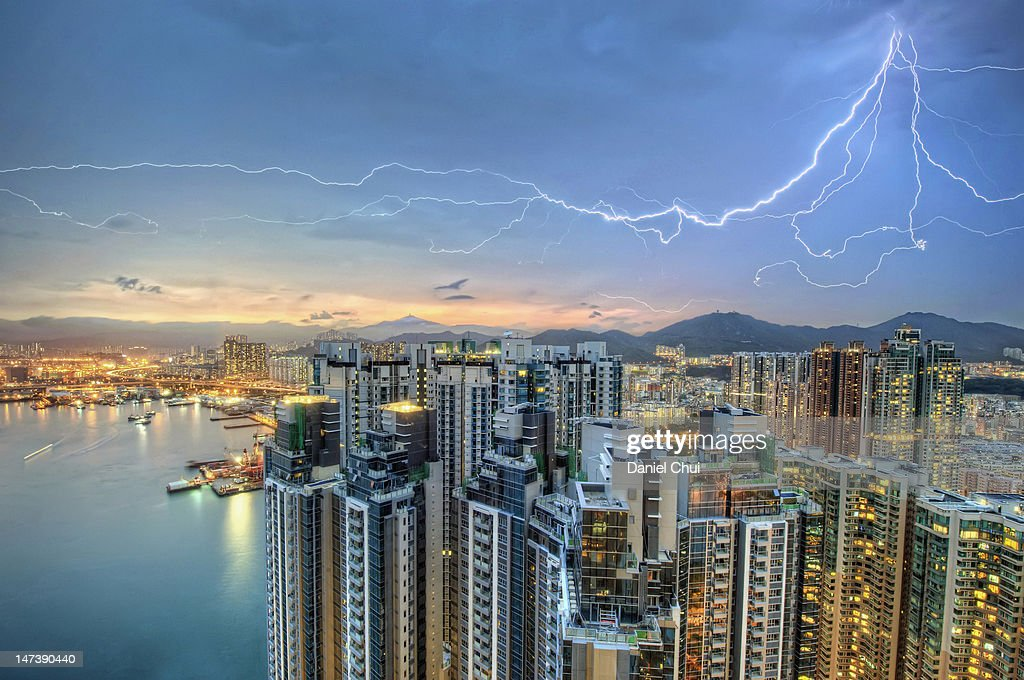 Hong Kong lightning storm : Stock Photo