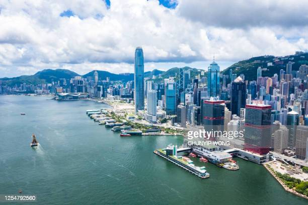 香港 - ビクトリア・ハーバーのマカオフェリーターミナル - 上環 ストックフォトと画像