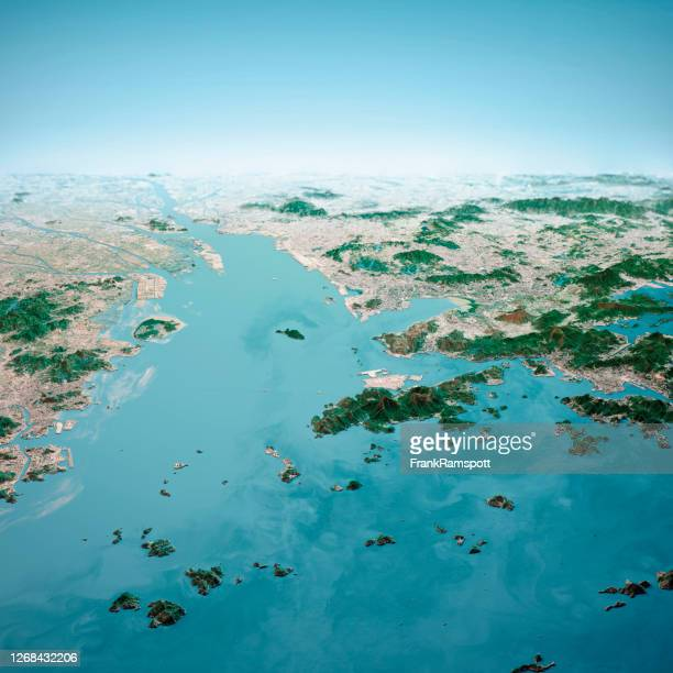 hong kong macau greater bay area 3d render aerial horizon view from south jan 2020 - frankramspott stock pictures, royalty-free photos & images