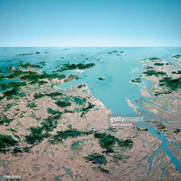 hong kong macau greater bay area 3d render aerial horizon view from north jan 2020 - frankramspott stock pictures, royalty-free photos & images