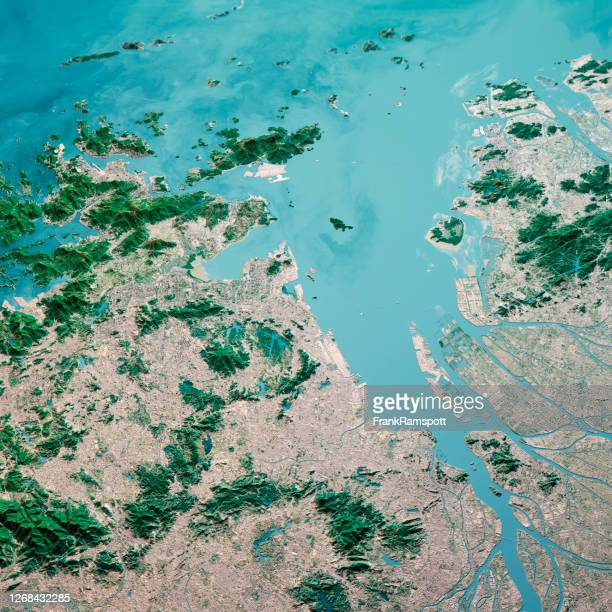 hong kong macau greater bay area 3d render aerial landscape view from north jan 2020 - frankramspott stock pictures, royalty-free photos & images