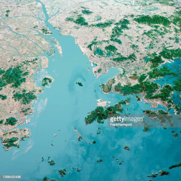 hong kong macau greater bay area 3d render aerial landscape view from south jan 2020 - frankramspott stock pictures, royalty-free photos & images