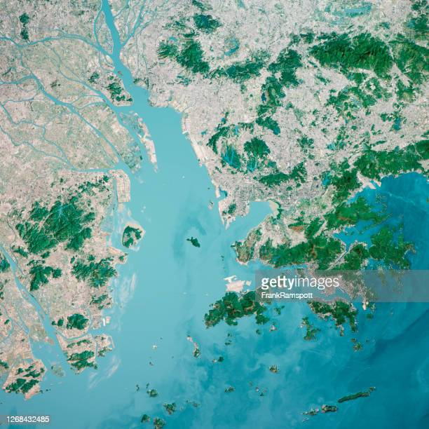 hong kong macau greater bay area 3d render antenne top view from south jan 2020 - frankramspott stock-fotos und bilder