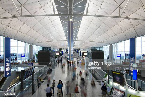 hong kong main terminal - hong kong international airport stock photos and pictures