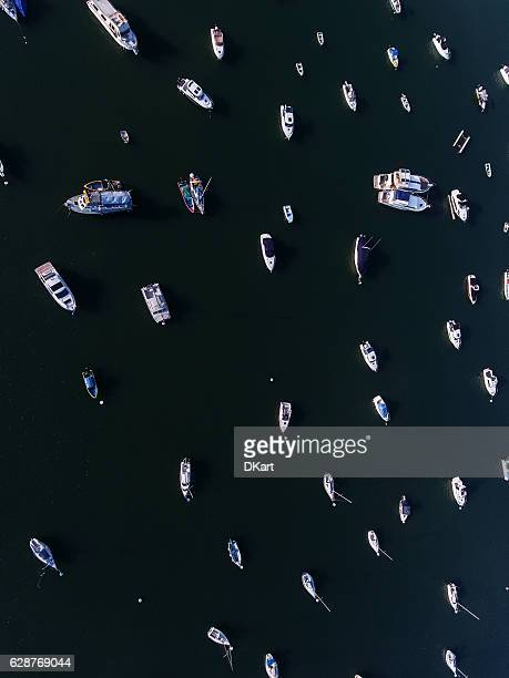Hong Kong marina aerial view by drone