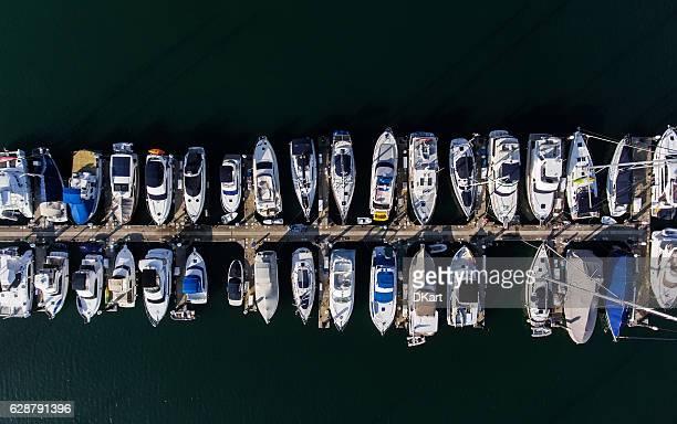 Hong Kong marina aerial view by drone