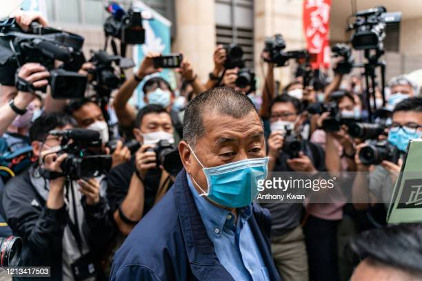 Hong Kong media tycoon and founder of Apple Daily newspaper Jimmy Lai arrives at the West Kowloon Magistrates' Court on May 18 2020 in Hong Kong...