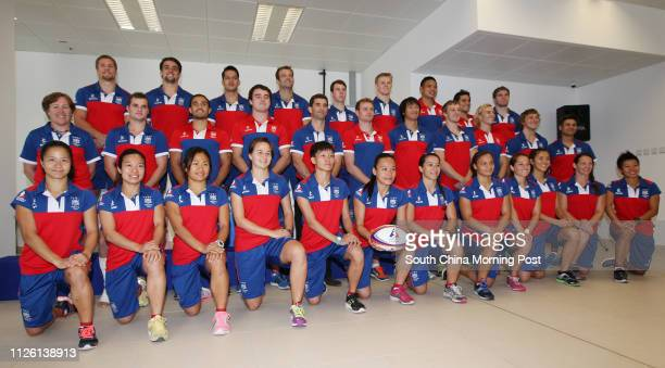 Hong Kong Men's and Women's Sevens squad pose for group photo at the Hong Kong Sports Institute in Sha Tin Pictured are Sham Waishum Candy Cheng...