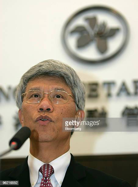 Hong Kong Monetary Authority Chief Executive Joseph Yam speaks to reporters at a press conference in Hong Kong China Wednesday May 18 2005 The Hong...