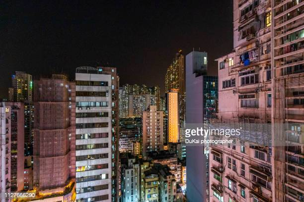 hong kong mong kok residential area - kowloon peninsula stock pictures, royalty-free photos & images