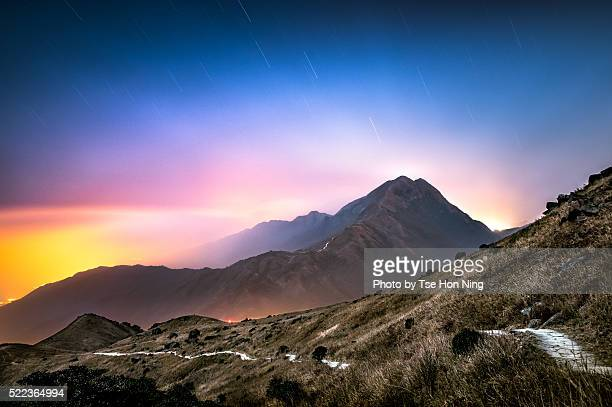 Hong Kong Mountain landscapes at night with star trails