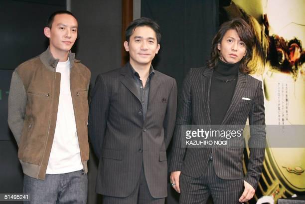 Hong Kong movie star Tony Leung Taiwanese actor Chang Chen and Japanese actor Takuya Kimura pose during a photo session at a press conference to...