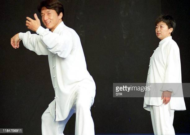 Hong Kong movie superstar Jacky Chan shows off his traditional Chinese martial art Taichi skills under the guidance of a local master in Beijing 28...