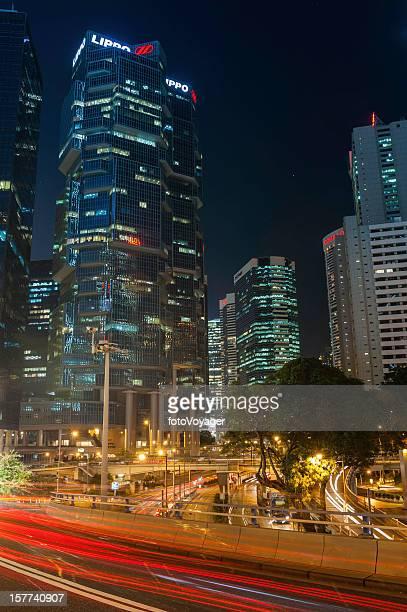 Hong Kong neon night lights of Central