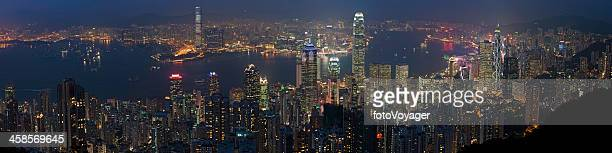 hong kong neon night panorama harbour skyscrapers - two international finance center stock pictures, royalty-free photos & images
