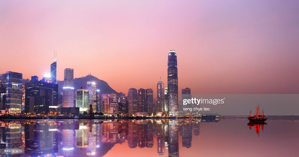 Hong Kong neon sunset iconic harbour skyscrapers : Stock Photo