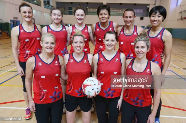 Hong Kong netball team Michelle Warburton, Julia Broughton, Krystle Edwards and Victoria Smith, Elise Daly, Mandy Tai, Kale Jolly, Connie Wong, Anna...