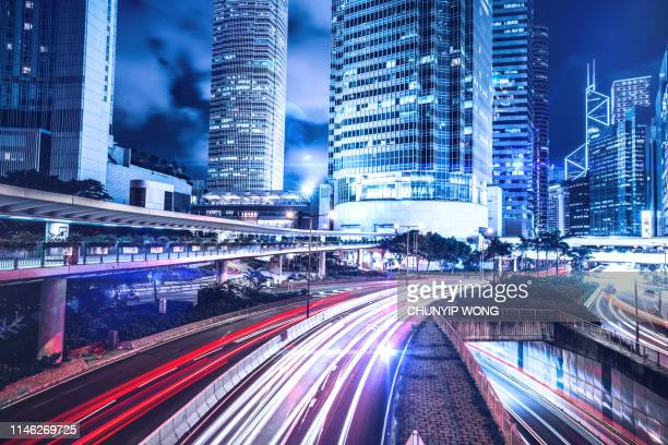 hong kong night city - two international finance center stock pictures, royalty-free photos & images