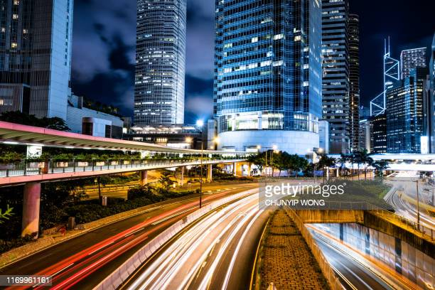 hong kong night city - big tech stock pictures, royalty-free photos & images
