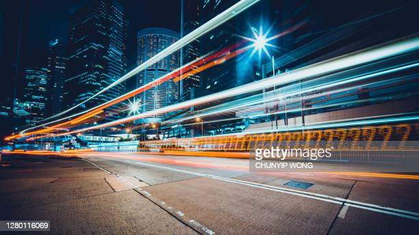 hong kong night city - illuminated stock pictures, royalty-free photos & images