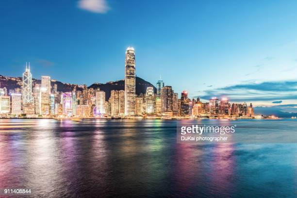 hong kong , night - two international finance center stock pictures, royalty-free photos & images