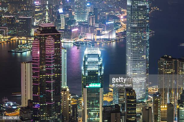 hong kong night skyline - emerging markets stock photos and pictures
