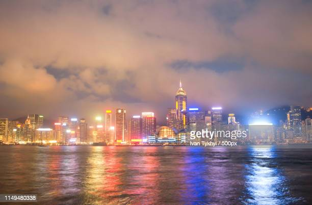 hong kong night view - hong kong stock pictures, royalty-free photos & images