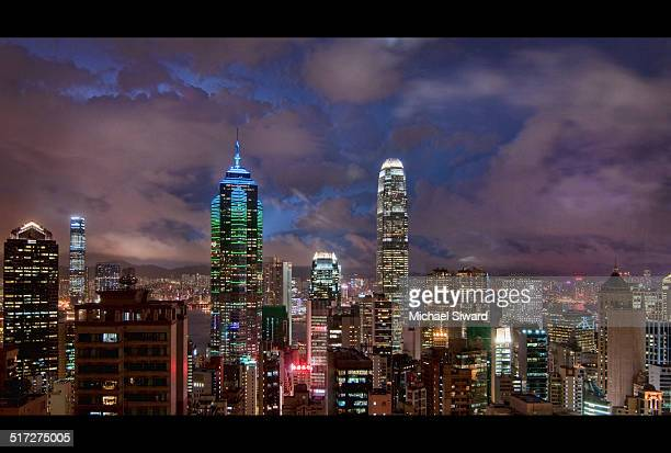 hong kong night view - michael siward stock pictures, royalty-free photos & images