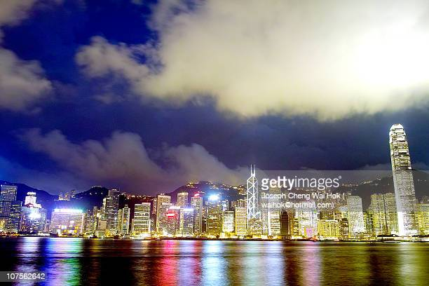 hong kong nightview at tsim sha tsui promenade - hong kong stock pictures, royalty-free photos & images
