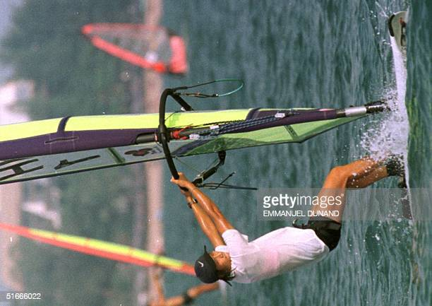 Hong Kong Olympic Gold Medalist Lee Lai Shan steers her windsurf to victory 29 November during the 20th Siam Cup Lee led from the start in the...