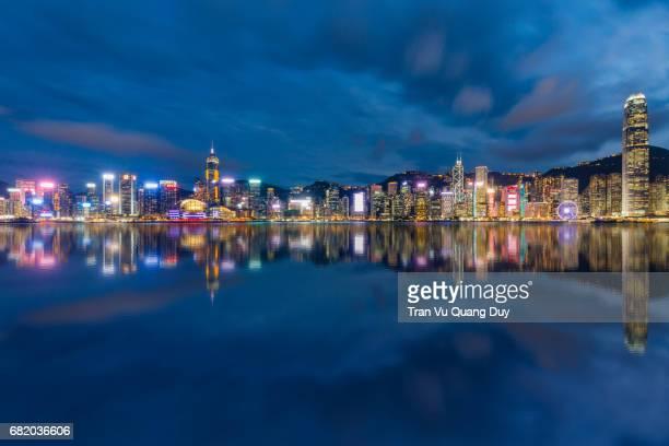 hong kong panoramic reflection - wanchai stock photos and pictures