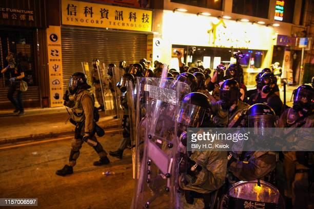 Hong Kong Police clear the street during an antiextradition bill march in Hong Kong on July 21 2019 in Hong Kong Hong Kong Prodemocracy protesters...