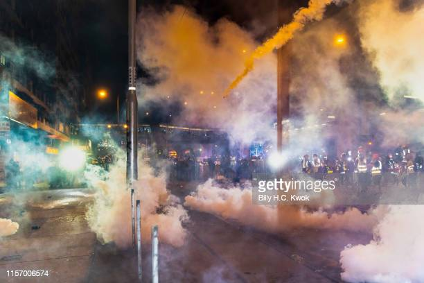 Hong Kong Police fire the tear gas during an antiextradition bill march in Hong Kong on July 21 2019 in Hong Kong Hong Kong Prodemocracy protesters...