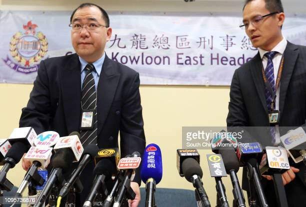 Hong Kong Police Senior Superintendent Anthony Tsang Chingfo with Chief Inspector Raymond Lam Cheukho at a press conference at the Kowloon East...