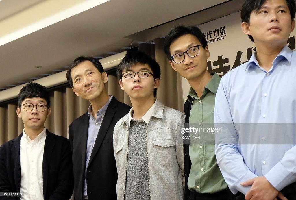 Hong Kong politicians Eddie Chu, Edward Yiu, Joshua Wong, Nathan Law
