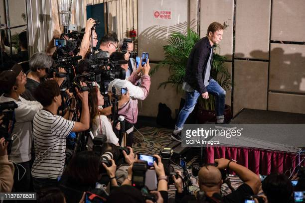 Hong Kong pop star Andy Hui Chion seen arriving at a press conference to address a scandal between him and the local actress Jacqueline Wong Sumwing...