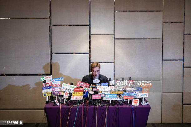 Hong Kong pop star Andy Hui Chion seen speaking at a press conference addressing a scandal between him and the local actress Jacqueline Wong Sumwing...