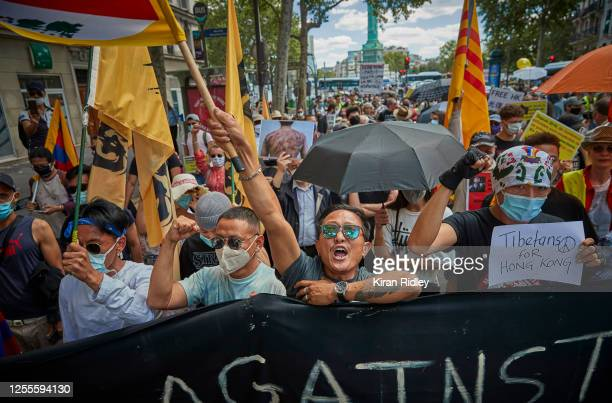 Hong Kong Pro Democracy demonstrators protest at Place de la Bastille against the National Security Law introduced by China in Hong Kong, on July 11,...