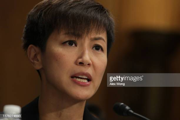 Hong Kong pro-democracy activist and Cantopop singer Denise Ho testifies during a hearing before the Congressional-Executive Commission on China...