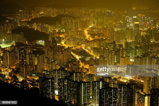 Hong Kong Residential Area at Night Scene