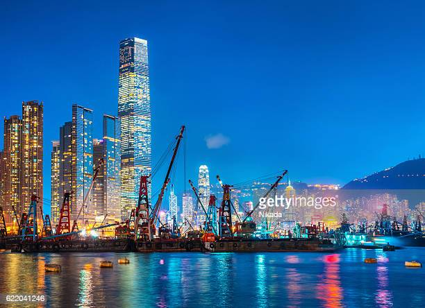 Hong Kong skyline and Container Cargo freight ship