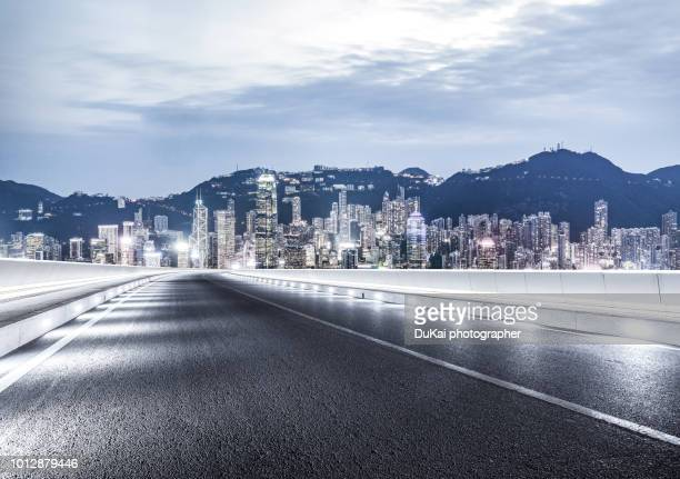 Hong Kong skyline and empty road