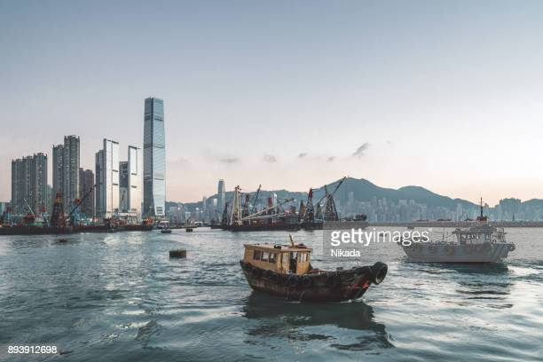 Hong Kong Skyline und Angelboote/Fischerboote