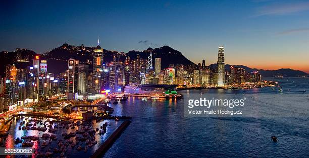 Hong Kong skyline and Victoria Harbour pictured from North Point at evening after a sunny day Hong Kong China