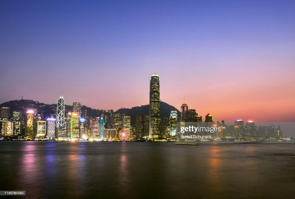 Hong Kong Skyline at dusk : Stock Photo