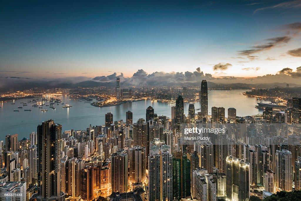 Hong Kong skyline at sunrise : Stock Photo