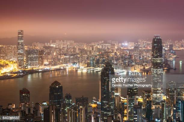 Hong Kong skyline before sunrise